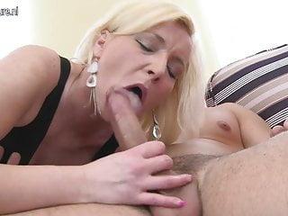 Dirty blonde MILF sucks and fucks her toyboy