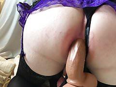 CD slut mistycane dildo fucks her tight ass