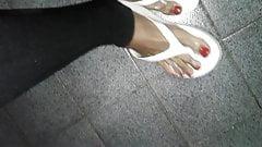 Masturbate feet in flip flop