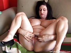 Cute busty chubby honey fucks her fat juicy pussy for you