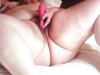 My fat sexy wife cums watching les porn & using her fav toy
