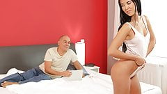 OLD4K. Dad knows how to caress a young lady to make her...
