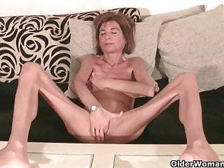 Very Skinny Granny Strips Off And Masturbates Compilation