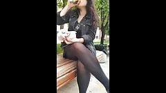 Turkish girl's sexy black pantyhose upskirt