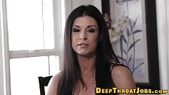 Gagging milf mouth fucked
