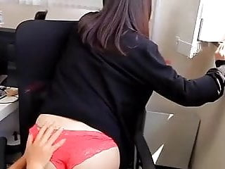 Softcore Asian Panty Stocking Office Tease