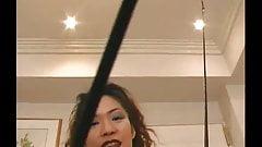 Asian Domina Long Red Nails Scrtaches at 35 min.