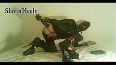 SlavinHeels - large dildo, anal fist, high heels, catsuit