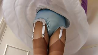 Fanned Blue Satin Panties