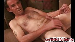 Mature homo strips down and jerks off before coming hard