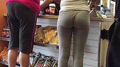 Tight Teen Ass in Grey Tights