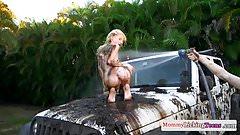 Ginger MILF pussylicks teeny on dirty car