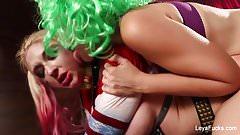 Whorley Quinn Leya gets a hard fucking from She Joker Nadia