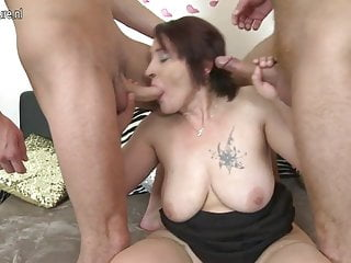 Old mother fucks two young boys