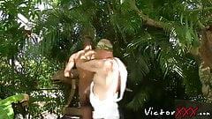 Roman emperor raw fucking ebony servant in the palace garden