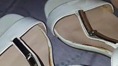 Cum on her sandals again