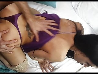 mother sucks cock in purple satin nightie