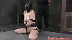 Masked redhead sub toyed while tied up
