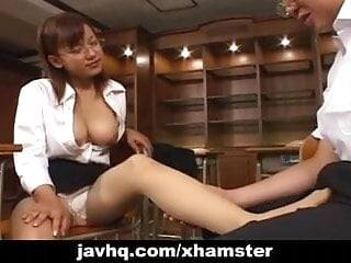 Japanese teen Eri Yukawa gives hand job over her tits