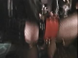 Three females with strapons and a TS in a swing