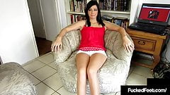 Young Latina Layla Lopez Foot Fucks Cock With Her Tiny Feet!