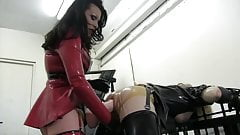 Mistress pegs sissy with giang