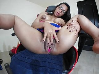 Anne Michelle playing with her giant pussy and long nipples