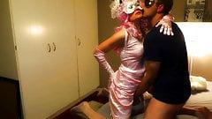 Pink string bikini satin panties vid teser