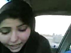 Desi Bhabhi sucking cock Eat Cum car BJ in UK hijab muslim