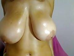 Big oiled boobs bouncing on webcam