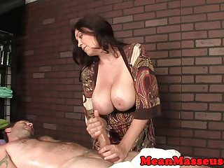 Bigtitted dominant masseuse tugging client