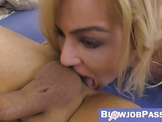 Horny blonde rimjobs her lover and rides his thick cock