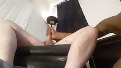 Black guy playing with a big white dick