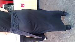 Big ass in long black dress