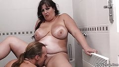 BBW sucks and rides stranger's cock in restroom