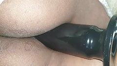 Sleeping huge dildo