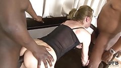 Granny anal fucked in hardcore interracial threesome