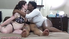 Real black couple gets a cute white girl to play with
