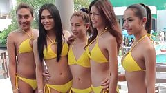 Ladyboy bikini water volleyball