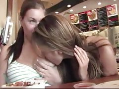 Teens flashing their tits in Pizza place