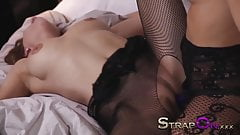 StrapOn Lesbians in black fishnets fuck with purple strapon  thumb