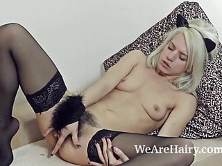Stockings make hairy girl Selena horny and naughty