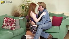 Red daughter fucking a dirty old cowboy