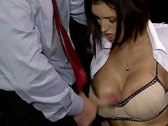 Stunning busty brunette gets to suck her boss' cock