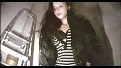 Sexy winter jacket girl fucks in the laundry room
