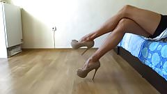 My sexy long legs in nude high heel pumps's Thumb