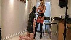 British mistress gets her boots licked clean