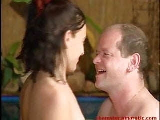 Couple fuck in a tropical spa