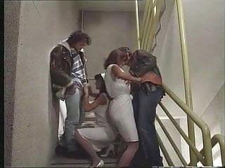 Nurses Anita Blonde & Anita Dark Give Head on Stairs