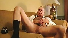 Smoke and masturbate in black socks